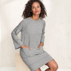 We love a pull-on dress to go to and fro, and this design in quick-dry, ultra-soft French terry is even cozier than your favorite sweatshirt. Beautifully styled with bell sleeves and patch pockets, it's just right with sneakers or ballet flats.