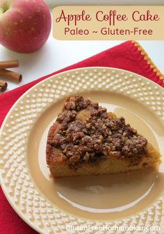 I love this paleo apple coffee cake with the fall flavors of apple, cinnamon, and walnuts. It's moist, lightly sweet, and filling. At GlutenFreeHomemak. Paleo Apple Recipes, Paleo Desert Recipes, Cooking Recipes, Free Recipes, Hcg Recipes, Paleo Coffee Cake, Apple Coffee Cakes, Gluten Free Baking, Gluten Free Desserts