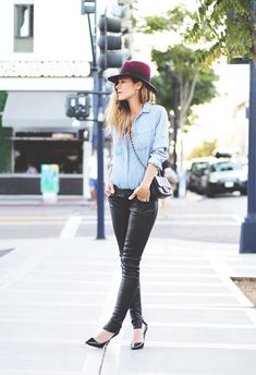 Denim + leather = a hot combo.