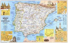Map Of Spain, Spain And Portugal, National Geographic Maps, Travel Maps, Vintage World Maps, Diagram, Europe, City, 1984
