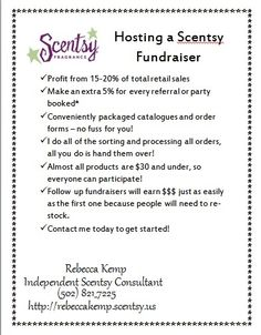 Contact me to start your Scentsy Fundraiser