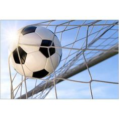 Football Goal, with Sun and Blue Sky Photography by Eazl, Size: 18 x 12