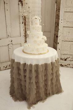 Sable Petals and Burlap Tablecloth - Vintage Weddings. $248.00, via Etsy.
