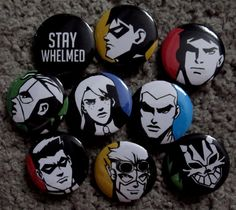 Young Justice Pins OMG I want these so bad AAAAAAAAHHHH. Need before I die.