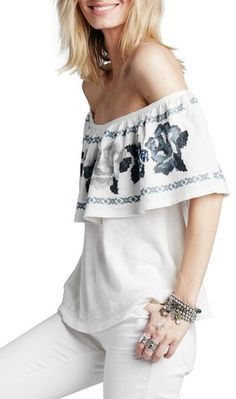 Free People 'To the Left' Embroidered Off the Shoulder Top #HippieChic #Gypsy #Boho
