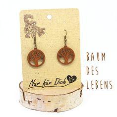 Houten oorbellen BAUM van het leven sieraden   Etsy Barware, Place Cards, Place Card Holders, Etsy, Bar Accessories, Glas