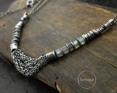 oxidized sterling silver & labradorite  Necklace