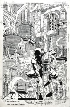 Daredevil #3 original art by Joe Quesada & Jimmy Palmiotti