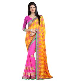 Yellow Jacquard And Georgette Embroidered Designer Saree Sarees on Shimply.com