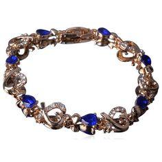 Passionaria - Blue Heart Drop Cut Swarovski Crystal Gold Anklet