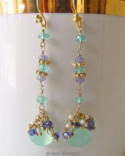 Schaef Designs Tanzanite CZ briolettes, aqua chalcedony teardrops, seed pearls & 22kt gold vermeil Long Dangle Earrings |  New Mexico