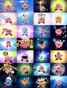 These are some Kirby copy abilities. My favorite one is sword. It makes him look like Link, the hero of time.
