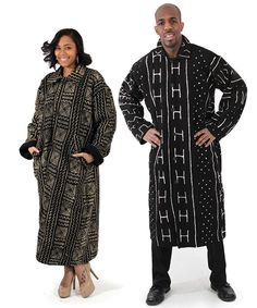 Full Length Mud Cloth Coat  Ravish the crowd!  Live in the lap of luxury with this contemporary mudcloth coat. Completely one-of-a-kind, each coat is fully lined with mudcloth and has a soft swing style. Hand-painted designs are all done by different artists, making each coat completely unique. $259.90  #fad #forealafricandesigns #mudcloth #africanfashion