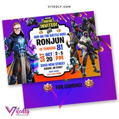 Fortnite Invitation Season 7 with FREE Thank you card! Digital Files will be delivered within or less! FREE Thank you card included! Digital Invitations, Invitation Cards, Birthday Invitations, 7th Birthday, Birthday Parties, Free Thank You Cards, File Format, Season 7, Your Cards