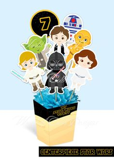Printable Centerpiece  STAR WARS Instant by WorldofColorDesigns