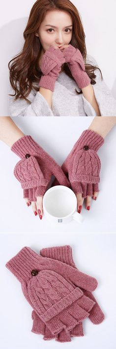 Women's Winter Solid Wool Knitted Gloves Outdoor Warm Half-finger Convertible Mittens