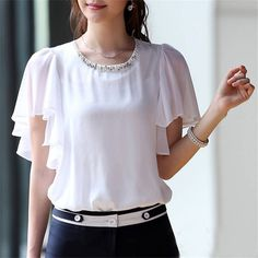 KRBN Brand Women Tops Chiffon Blouse Summer Women Clothing 2016 Ladies Blouses Casual Short Sleeve Plus Size White Girl's Shirts - ladies long sleeve shirts blouses latest ladies blouse light grey blouse ad Indian Blouse Designs, Top Chic, Fashion Designer, Loose Tops, Blouses For Women, Ladies Blouses, Ladies Dress Design, Chiffon Tops, Fashion Dresses