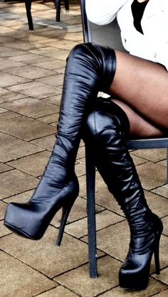 Black High Boots, Thigh High Boots Heels, High Leather Boots, Heeled Boots, High Heels, Long Boots, Sexy Legs And Heels, Sexy Boots, Platform Shoes Heels