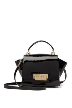 63aa2f62947c this is purse-onal · Image of ZAC Zac Posen Eartha Top Handle Patent  Leather Crossbody Bag Black Leather Crossbody Bag