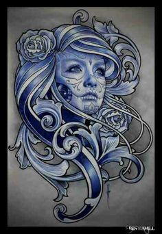 Sugar Skull, love It Painting by Tattoo Artist Ben Hamill from Ink Studios in Bournemouth, UK. Body Art Tattoos, Girl Tattoos, Sleeve Tattoos, Tatoos, Big Tattoo Planet, Day Of The Dead Girl, Sugar Skull Girl, Sugar Skulls, Catrina Tattoo