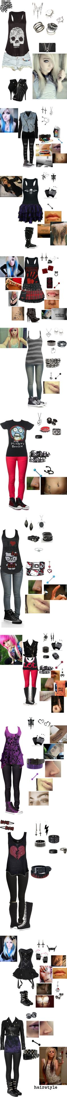 """Emo / gothic clothes Part 4"" by foreverbroken ❤ liked on Polyvore - jessi's basic wardrobe she wishes"