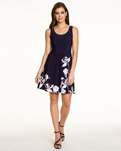 A dainty floral print enhances this flowy fit & flare dress. #prettypicnic
