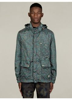 Men's Floral Print Short Parka Jacket