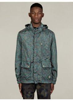 Men's Floral Print Short Parka Jacket