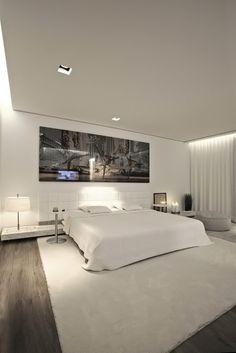 Luxurious S House Master Bedroom Interior Design Painted In White With Low Ceiling And Cove Lamp For Lighting