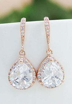 Rose Gold clear white cubic zirconia Crystal tear drop Wedding Earrings