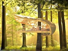 Eco-friendly E'terra Samara Tree-house Resort in Canada - The structure is designed to be suspended from the tree's trunk, rather than following the common practice of nailing to the tree, thereby hugging the tree rather than piercing its flesh.