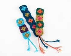 Mini Granny Square Bookmarks.