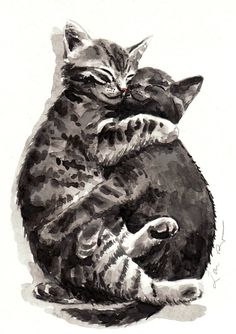 Kitty Hugs 5 x 7 Giclee Print of Watercolor Cute by LauraRowStudio, $13.00