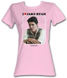 """Ladies Sixteen Candles Jake Ryan Shirt  This officially licensed Ladies Sixteen Candles shirt features a print of Jake Ryan and the words I """"Heart"""" Jake Ryan.    Fabric Details        Color: Pink      100% cotton    Our Price: $17.95  - See more at: http://www.oldschooltees.com/Ladies-Sixteen-Candles-Jake-Ryan-Shirt-p/sixteen004.htm#sthash.QSooSVkK.dpuf"""