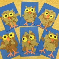 Torn Paper Owlets - We began by drawing the owl step-by-step and ripping brown paper to create the owl's feathers. Ripping the paper was a great way to work on fine motor skill development. The students practiced cutting by tracing two cups for the yellow