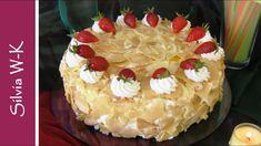 Erdbeertorte / Flockentorte / ohne Gelatine - YouTube Cake Recipes, Birthday Cake, Desserts, Gelatine, Youtube, Candy, Pie, Simple Cakes, Strawberries