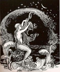 Illustration by Ida Rentoul Outhwaite The Little Mermaid is a famously dark and melancholy fairy tale. This week we look at the stories that inspired Hans Christian Andersen stories of sirens, of Undine, and Eastern European rusalka and th Vintage Mermaid, Mermaid Art, Mermaid Prints, Mermaid Sketch, Mermaid Paintings, Vintage Moon, Mermaid Quotes, Tattoo Mermaid, Mermaid Tails