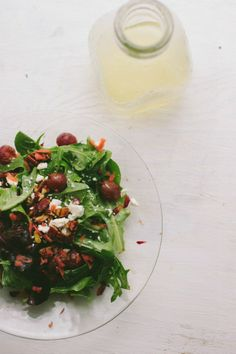 Mixed Greens with Roasted Grapes, Toasted Pecans, Carrots, Feta, & Citrus Dressing | The Vanilla Bean Blog
