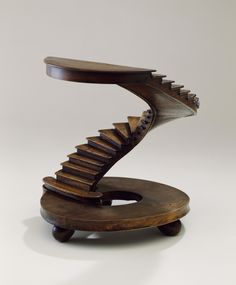 Architectural Staircase Model (France), mid–late 19th century; planed, joined, and veneered walnut - Dim: H x W x D: 22 x 20.2 x 17.5 cm (8 11/16 x 7 15/16 x 6 7/8 in.)