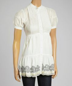 Another great find on #zulily! Off-White Embroidered Top by Aryeh #zulilyfinds