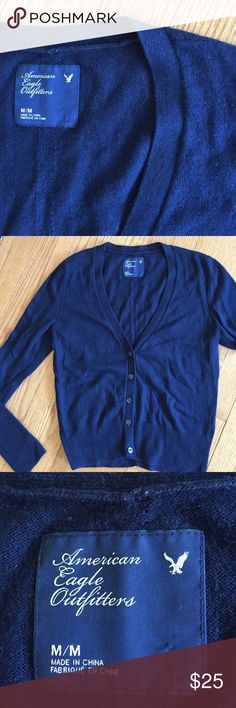 Navy AEO cardigan  Cute and versatile ARO carry, in good condition, perfect for work or going out.  55% cotton.  Good quality. American Eagle Outfitters Sweaters Cardigans