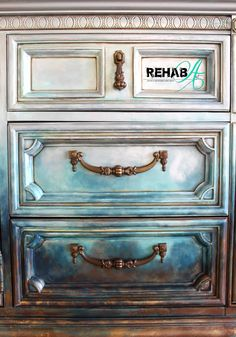 Hand-painted One of a Kind finish by artist Susan Tuthill at REHABArt.com Home Decor Store, Abstract Styles, Storage Drawers, Unique Home Decor, Credenza, Home Accessories, Repurposed, Custom Design, It Is Finished