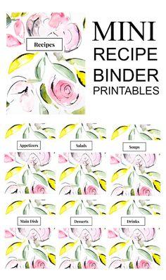 Free printable recipe binder images, really cute for organizing recipes. Printable Designs, Free Printables, Printable Recipe Cards, Recipe Printables, Planning Budget, Menu Planning, Book Labels, Mini Binder, Recipe Binders