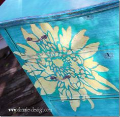 Painted furniture top hand painted dresser by Shizzle Design using American Paint Company Chalk and Clay paints Surfboard, Beach Glass ideas http://shizzle-design.com/2013/05/everybodys-gone-surfing.html