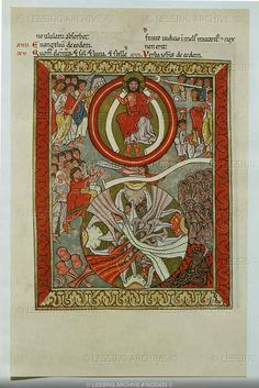 """""""Scivias""""(Know the ways of the Lord) by the German nun and mystic Hildegard von Bingen (1098-1179).The book, Codex Rupertsberg,disappeared during WW II.Transparen- cies are from a facsimile.The Last Judgement:Christ in his glory,the angel with the tuba,resurrection."""