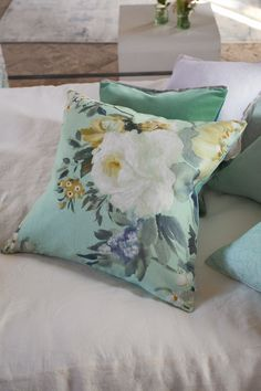 Designers Guild | Proserpine Pale Jade cushion  Just as inspiration...floral pillow, with solid bedding and another pillow in a rich fabric