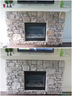 Gray-Washed Fireplace Stone Using Annie Sloan Chalk Paint - Life On Virginia Street. Buy Annie Sloan Chalk Paint® from local stockist Brenda Brown @ Annex of paredown in Ann, Arbor Whitewash Stone Fireplace, Stone Fireplace Makeover, Stacked Stone Fireplaces, Fireplace Update, Paint Fireplace, Fireplace Remodel, Fireplace Mantels, Fireplace Ideas, Fireplace Makeovers