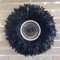 Black juju hat / dreamcatcher designed and made by Eva Brady from dustytreasureshomedecor Dreamcatcher Design, Juju Hat, Ribbon Rosettes, Ju Ju, White Wall Art, Wreath Making, Bed Head, Dreamcatchers, How To Make Wreaths