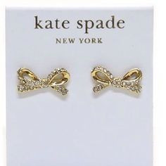NWT Kate Spade Pave Bow Earrings New with tags. Comes with Kate Spade dustbag. Gorgeous!  Matching bracelet also available!!  No trades. Price firm. kate spade Jewelry Earrings