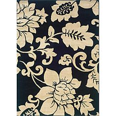 @Overstock - Make a statement in any room with these floral design rugs. These rugs are large enough to define various living spaces and their floral displays showcase artwork including leaf details. Made from polypropylene, these rugs are durable and strong.http://www.overstock.com/Home-Garden/Indoor-Black-Ivory-Floral-Area-Rug-5-x-73/5804444/product.html?CID=214117 $69.99